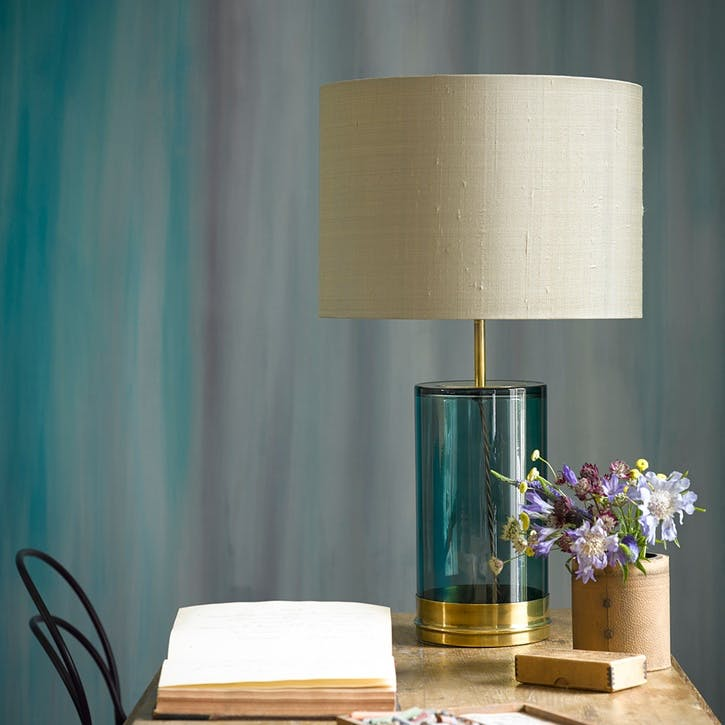 Wisteria Regular Table Lamp in Brass and Green Glass, 39cm