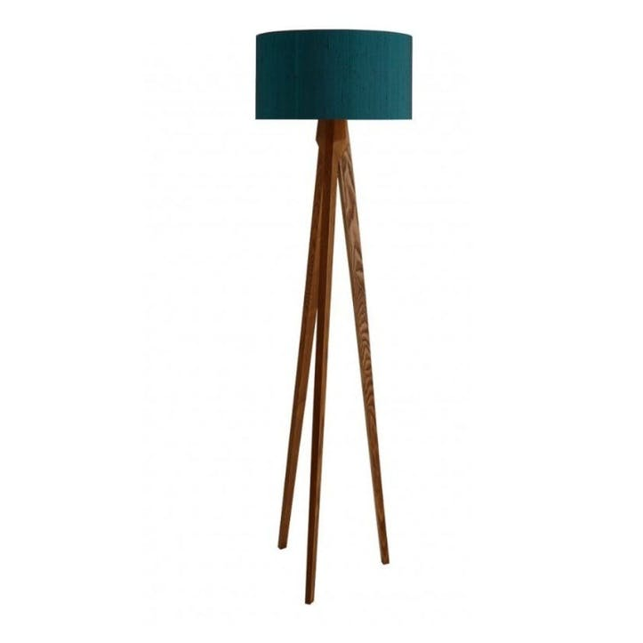 Tripod Wooden Floor Lamp with Silk Shade