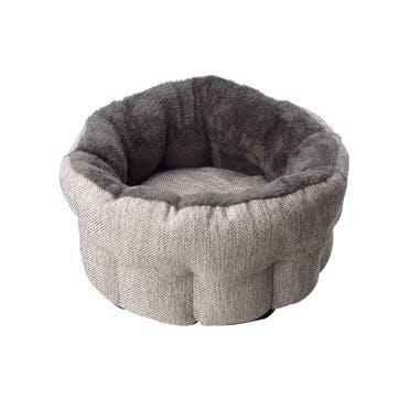 Hessian Deep Cat Bed, Grey