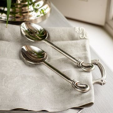 Pair of Polished Knot Medium Serving Spoons