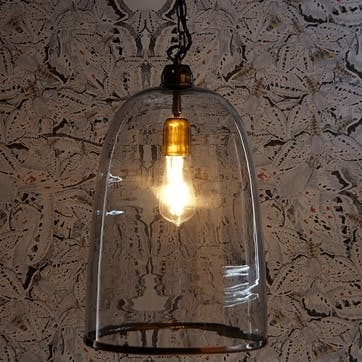 Percy Pendant Light in Clear Glass, Larger