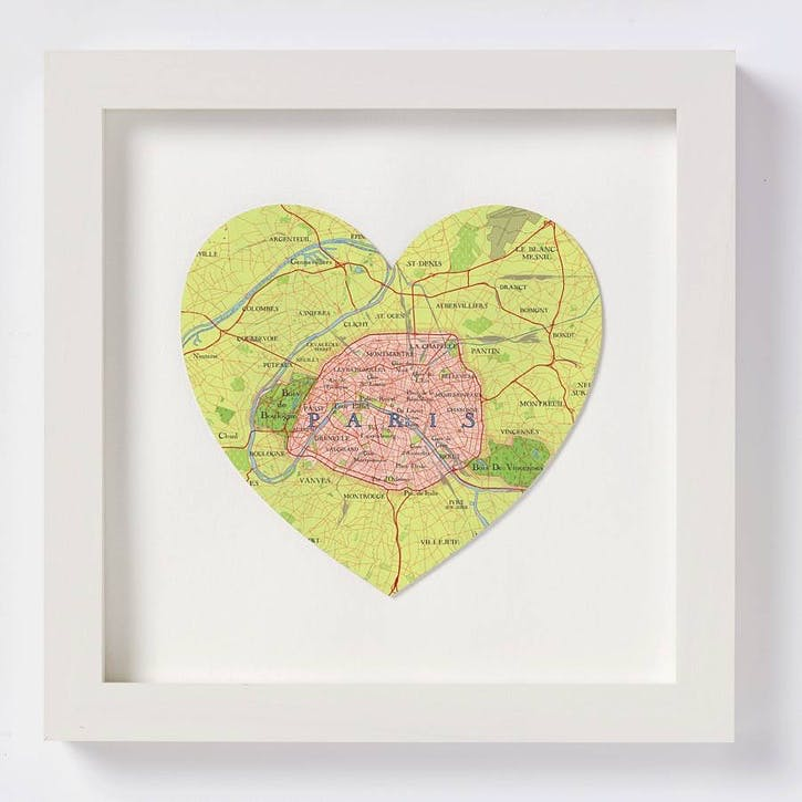 Paris Framed Map Print, 28cm