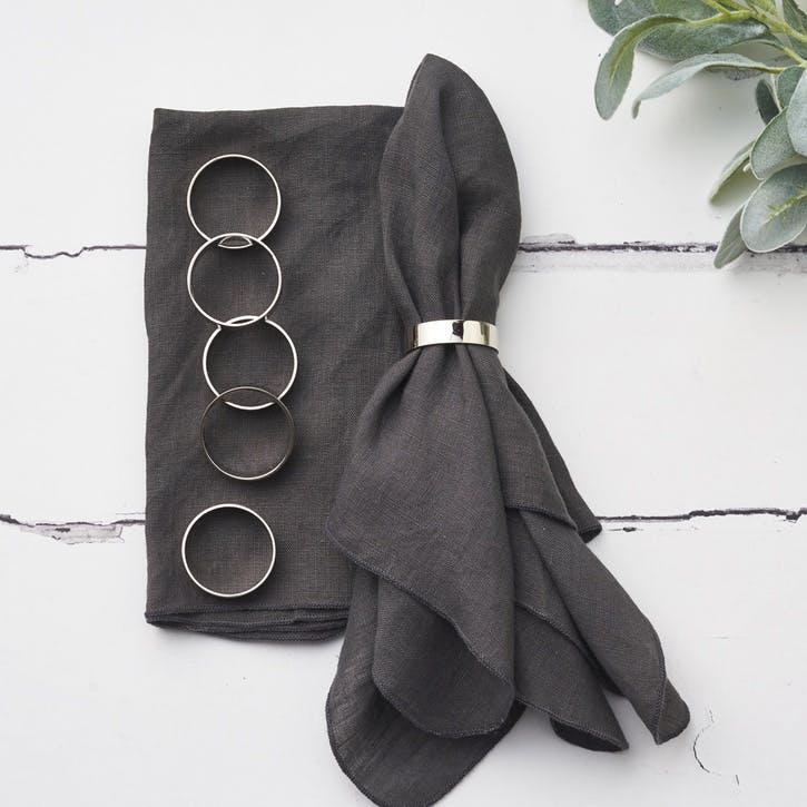 Set of 6 Silver Napkin Rings