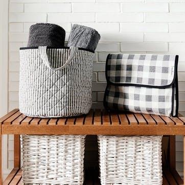 Harbour Stripe Storage Basket Black, Large