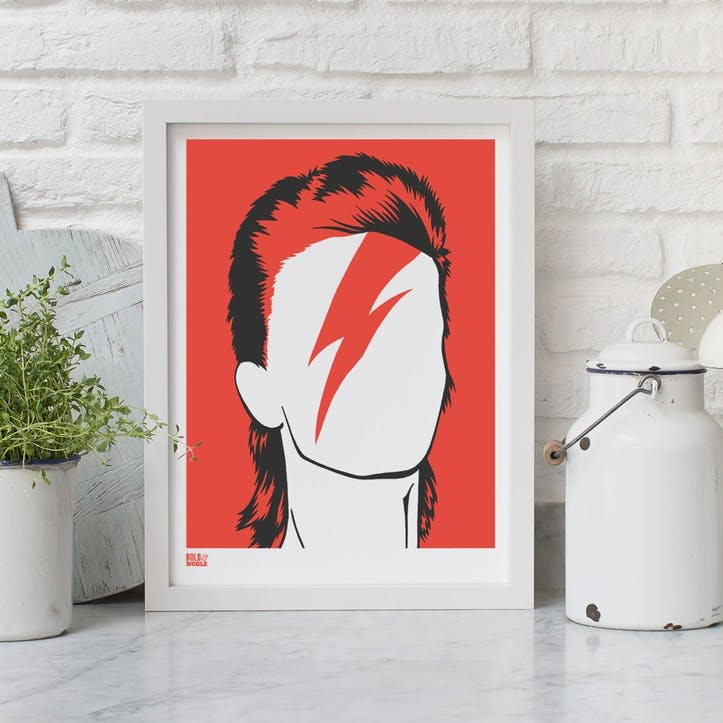 Bowie Screen Print, 30cm x 40cm, Red