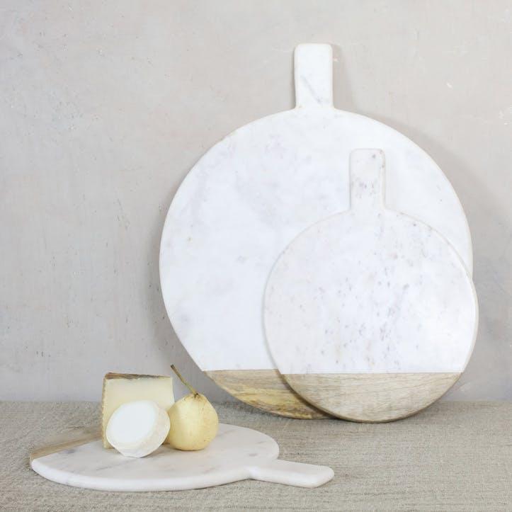 Bwari Round Marble Board - Small; White