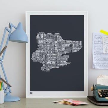Type Map Screen Print Essex, 50cm x 70cm, Sheer Slate