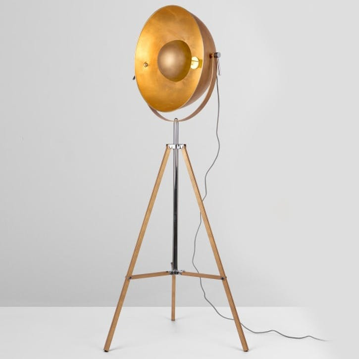 Chicago Floor Lamp; Antique Copper/ Gold