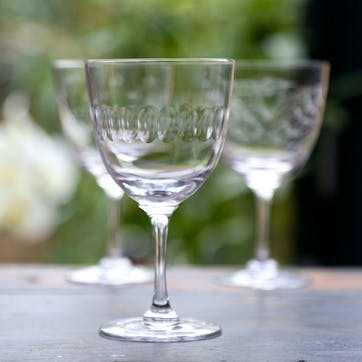 Lens Patterned Crystal Wine Glasses, Set of 6