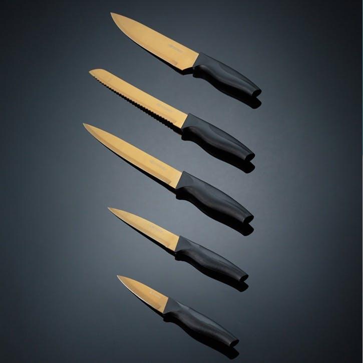 Opulence 5-Piece Knife Block, Gold