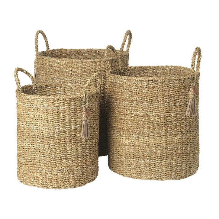Sara Hogla Seagrass Storage Baskets, Set of 3