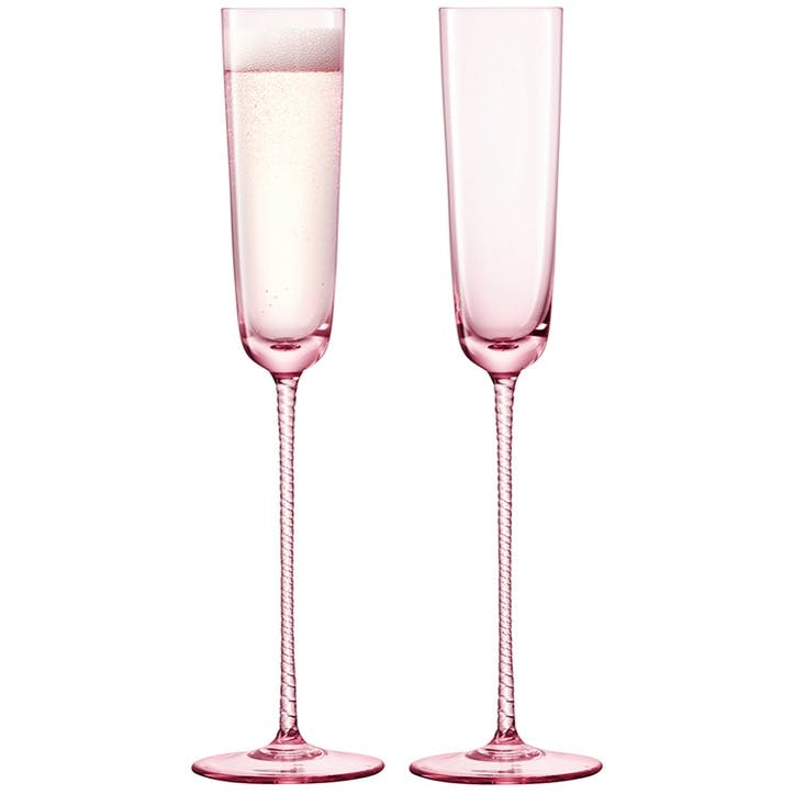 Champagne Theatre Set of 2 Flutes - 120ml; Dawn Pink