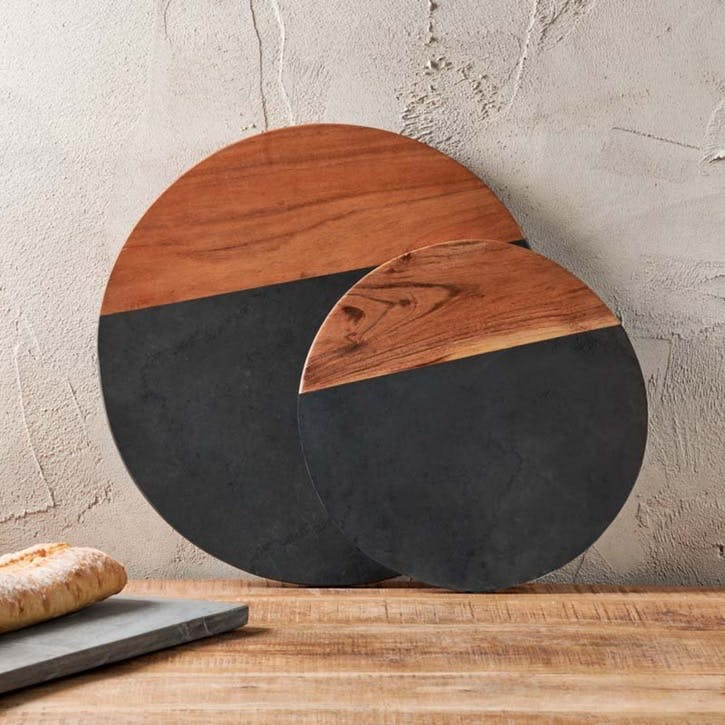 Fala Round Chopping Board, Slate & Acacia, Large