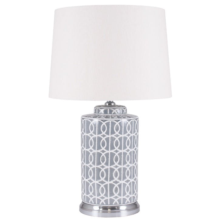 Aris Geo Pattern Table Lamp - Tall; Grey & White