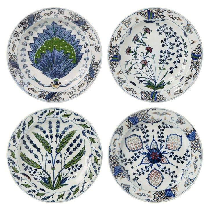 Isphahan Porcelain Dinner Plates, Set of 4