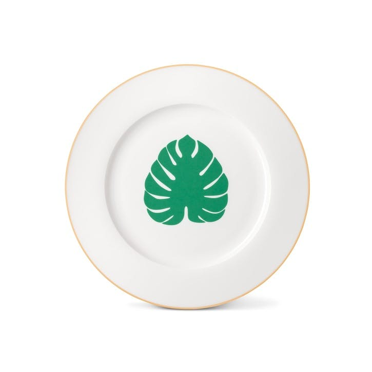 Tropical Leaf Dinner Plate with Gold Rim