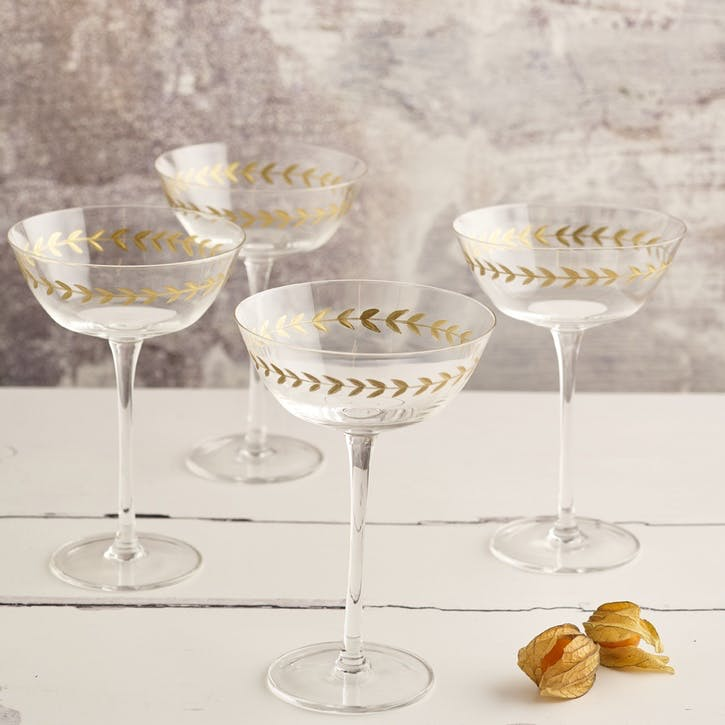 Gold Leaf Martini Glass, Set of 4