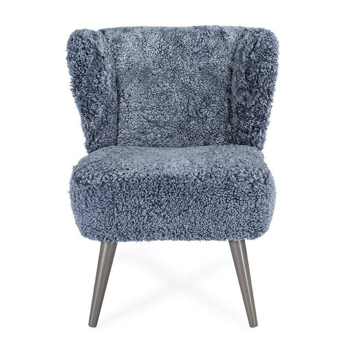 Ziggy Sheepskin Chair; Blue/ Grey