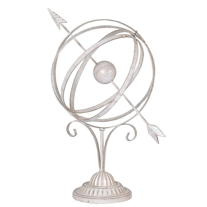 White Wash Armillary Sphere Decoration