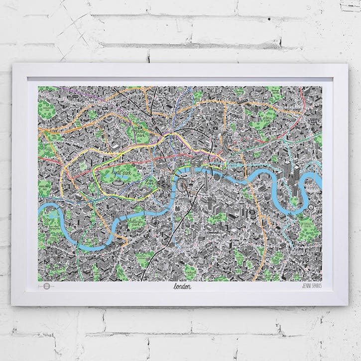 Map Hand Drawn of London, 58cm x 42cm, Medium