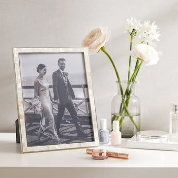 """Mother Of Pearl Photo Frame 8x10"""", White"""