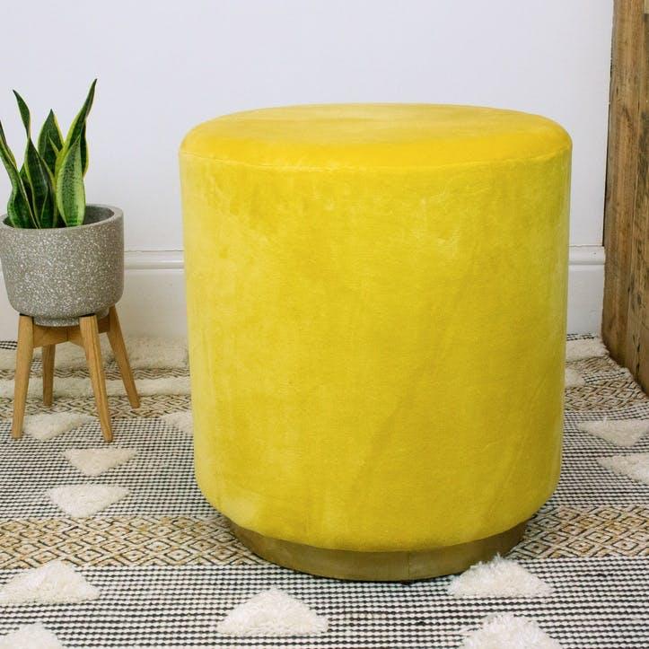 Alva Velvet Footstool, Mustard