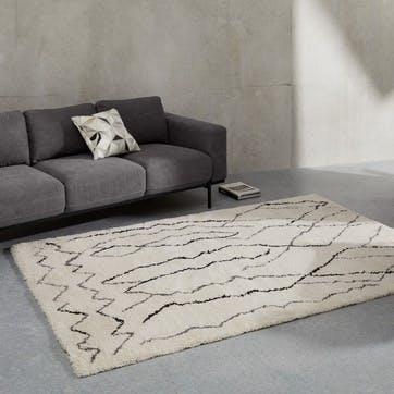 Cecily rug, H76 x W88 x D79cm, White & Grey