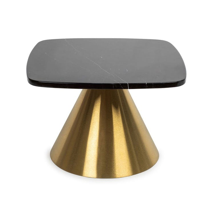Cezanne Square Side Table Black Marble Brass Frame
