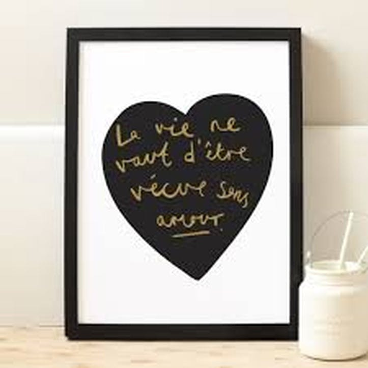 'Amour French Heart' Print, A4 Black & Gold, White Background