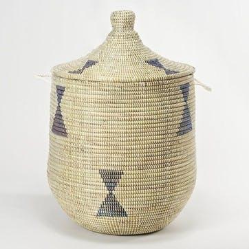 Ali Baba Laundry Basket, Medium, Natural/ Blue Diamonds