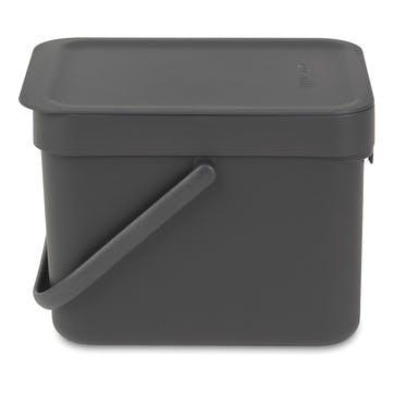 Sort & Go Waste Bin, 6L, Grey