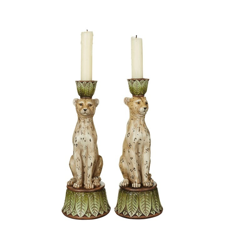 Pair of Lakadema Leopard Candle Holders