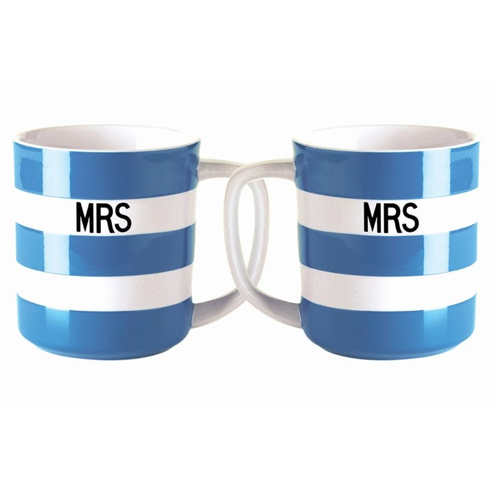 Set of 2 'Mrs & Mrs' Mugs, 10oz/28cl, Blue