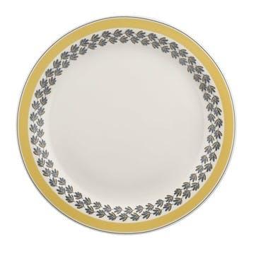 "Westerly Round Platter, 13""; Yellow Band"