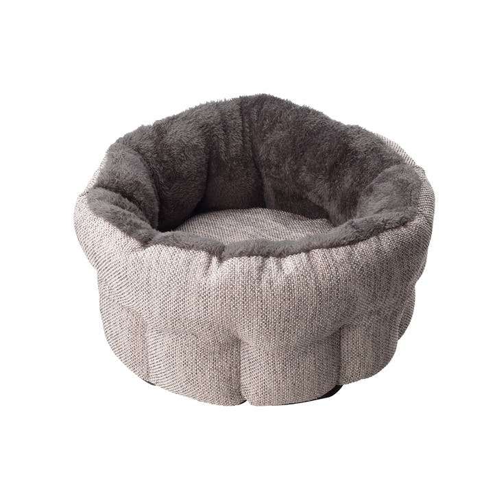 Hessian Deep Cat Bed, Grey