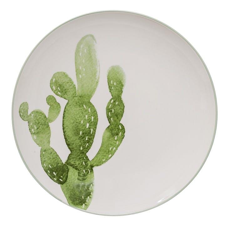 Jade Cactus Dinner plate, white/green, Dia25cm