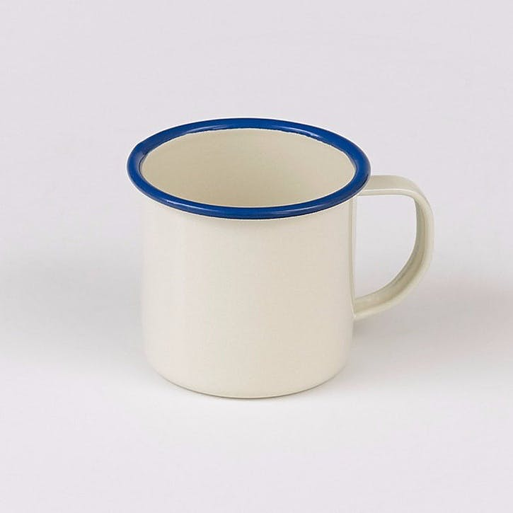 Enamel Mug, Blue Trim