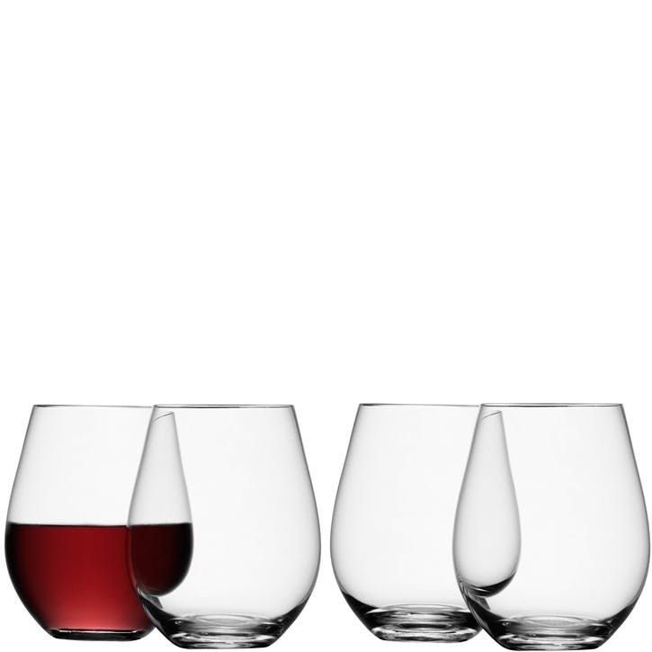 LSA Wine Stemless Red Wine Glass 530ml, Set of 4
