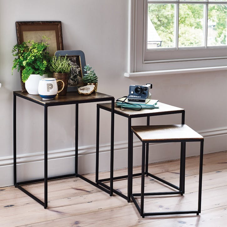 Nesting Tables, Set of 3, Oiled Bronze