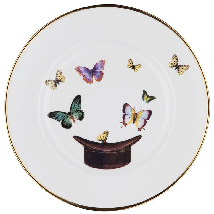 Modern Surrealist Hat and Butterflies Dinner Plate