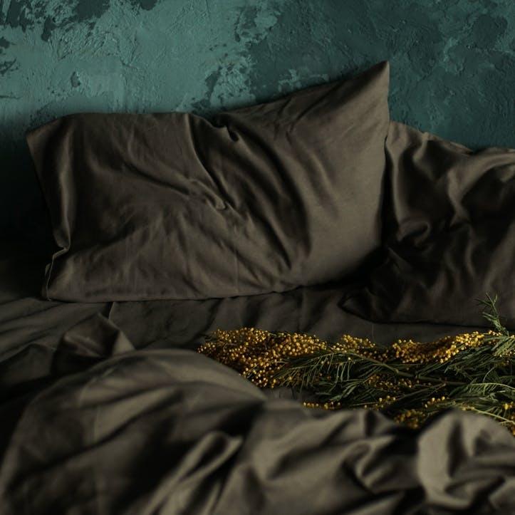 Linen & Bamboo Blend Bedding Set, Double, Olive Grey