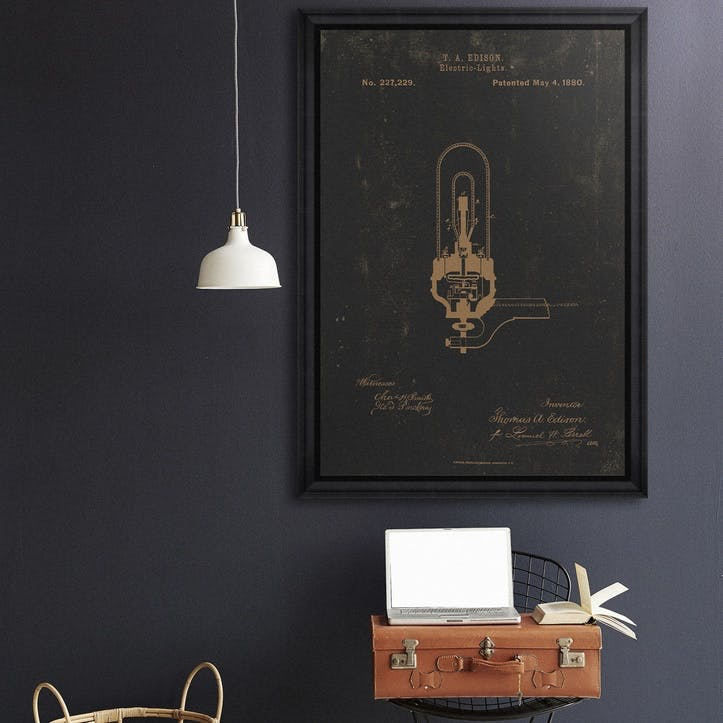 Edison Electric Light Black Framed Print, 70 x 100cm