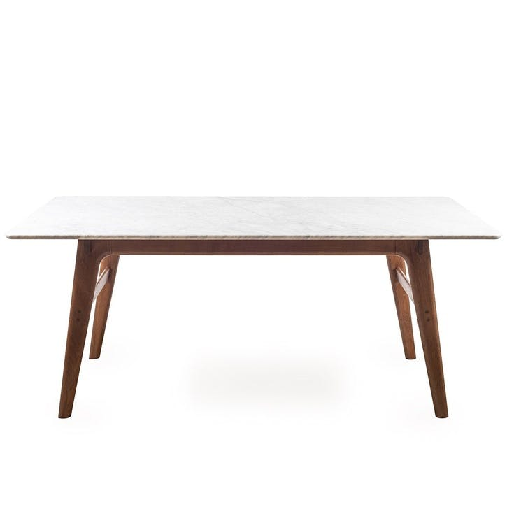 Blake Dining Table Marble Top; Dark Stained Oak