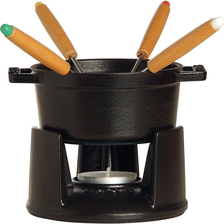 Cast Iron Mini Fondue Set, Black