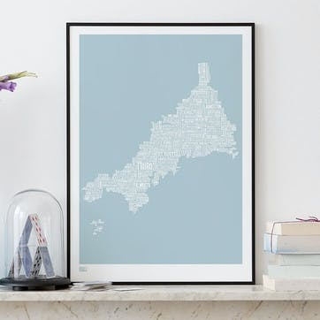 Type Map Screen Print Cornwall, 50cm x 70cm, Duck Egg Blue