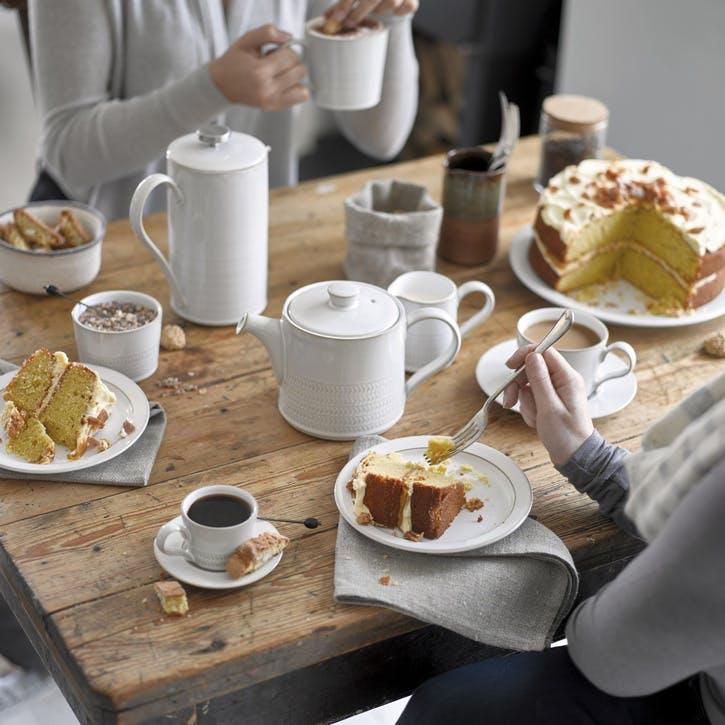 Natural Canvas Textured Teapot, 920ml, Cream