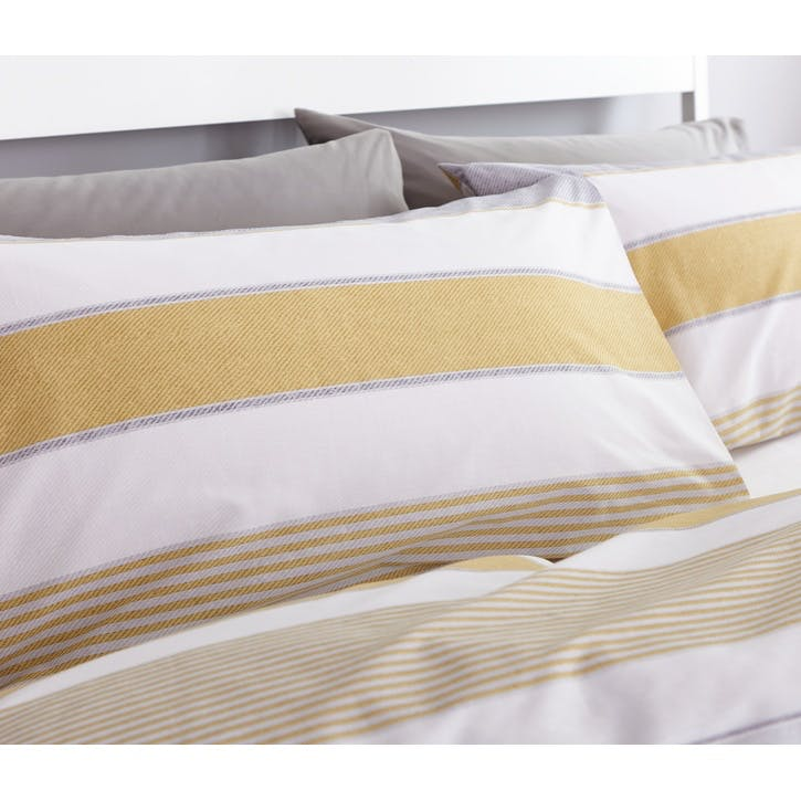 Newquay Stripe King Bedding Set; Ochre
