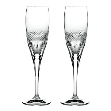 Diamonds Crystal Champagne Flutes, Set of 2