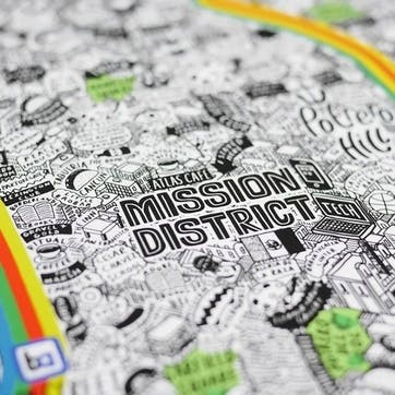 Map Hand Drawn of San Francisco, 61cm x 61cm