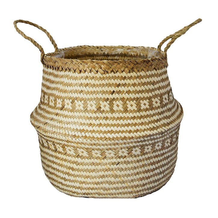 Seagrass Tribal, Lined Basket Small, White